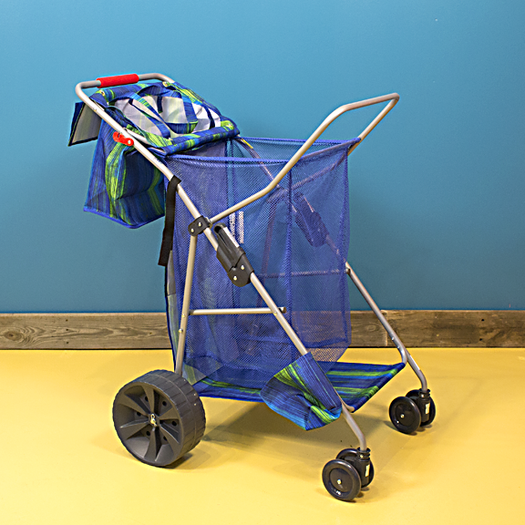 The Deluxe Wide Wheel Beach Cart has a weight capacity of 100 lbs. and can hold a 48 quart cooler and 4 beach chairs.