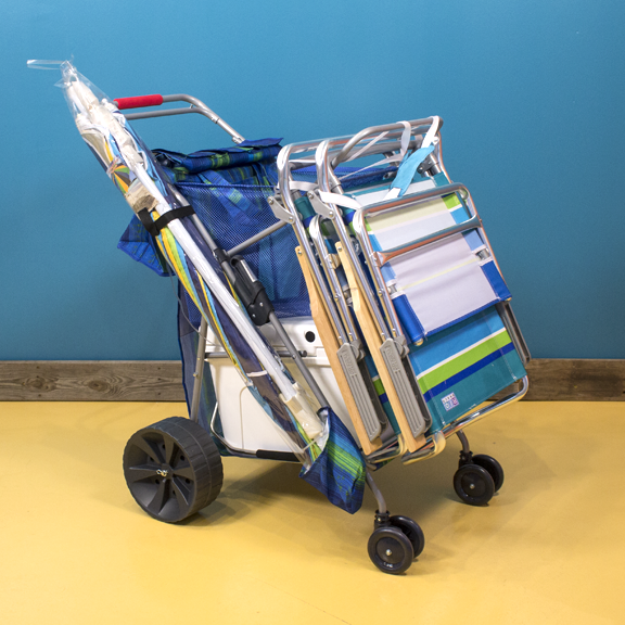 includes a 28 quart cooler, Two beach chairs and umbrella.  Covers all the beach essentials.